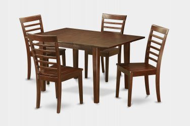 """Milan Dinette Kitchen Set, Table 36""""x 54"""" with 4 Chairs in Mahogany Finish SKU#: MILA5-MAH-W"""