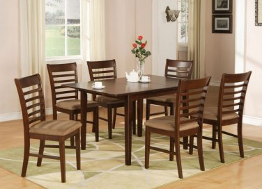 """Milan Dinette Kitchen Set, Table 36""""x 54"""" with 4 Chairs in Mahogany Finish SKU#: MILA5-MAH-C"""