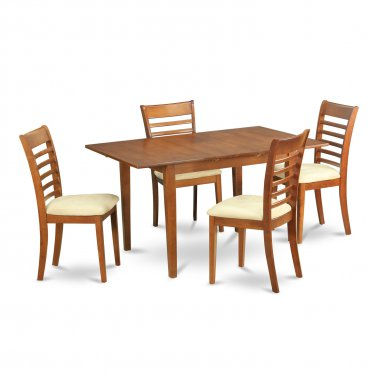 "Milan Dinette Kitchen Set, Table 36""x 54"" with 4 Chairs in Saddle Brown Finish SKU# MILA5-SBR-C"