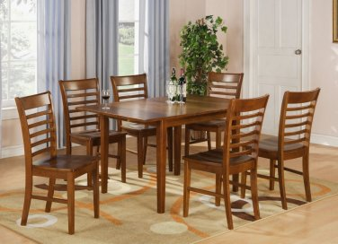 """Milan Dinette Kitchen Set, Table 36""""x 54"""" with 6 Chairs in Saddle Brown Finish SKU# MILA7-SBR-W"""