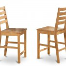 "SET OF 6 CAFE COUNTER HEIGHT WOOD SEAT CHAIRS, 24"" SEAT HEIGHT BAR STOOL IN OAK, SKU: CFS-OAK-W"