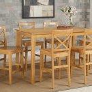 Capri counter height rectangular dining table + 6 wood chairs light oak SKU# CAPU7H-OAK-W