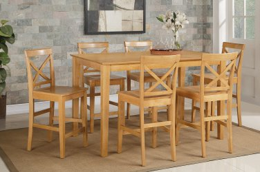 Capri Counter Height Rectangular Dining Table + 6 Wood Chairs Light Oak  SKU# CAPU7H OAK W