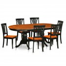 7PC Set Plainville Dining Table & 6 Avon Wood Seat Chairs in Cherry Black. SKU: PLAV7-BCH-W