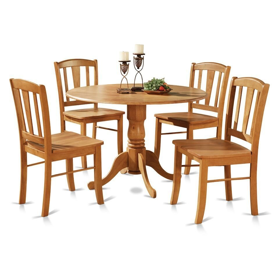 5pc Dublin Round Dinette Table W Drop Leaf 4 Plain Wood