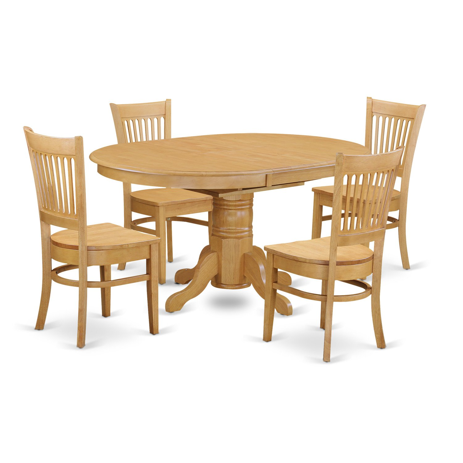 Oval Kitchen Table And Chairs: 5-PC Dinette Kitchen Dining Set, Oval Table With 4 Wood