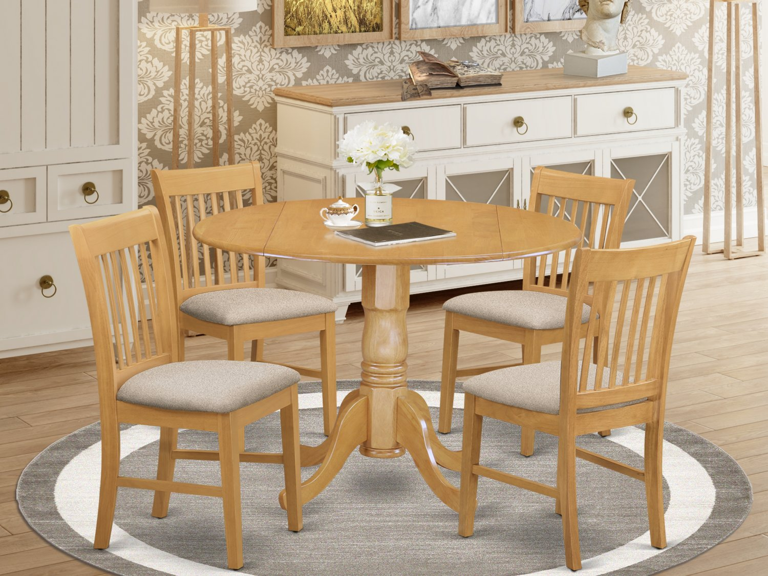 5PC dinette kitchen set round table drop leaf + 4 cushion seat chairs in OAK. SKU: DNO5-OAK-C