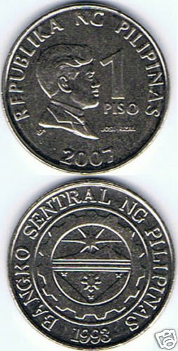 Jose Rizal Philippines 2007 1Peso Coin lot (3) Nice UNC-AU