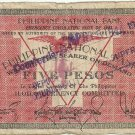 Philippines 1941 Iloilo 5 Pesos Emergency Circulating Note C/S S307 Serial 192,668 Plate E