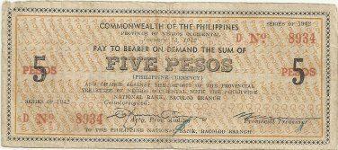 1942 PHILIPPINES 5 Pesos Negros Emergency Note. S637 Rare  1 to 10,000  Your notes Serial is 8,934