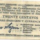 WWII 1943 Philippines Mindanao 20c Emerg.Note S503 UNC Serial 280227