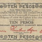 Philippine Mindanao 1944 WW2 S527 (d) Ten Pesos RARE S Series Note  Your Notes Serial is # 00,920