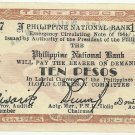 Philippines ILOILO 10 Pesos 1944 Guerilla Money S342 Dialosa Printing Method Serial is 110,157