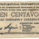 Philippine Mindanao 1943 WW2 S502 Ten Centavos UNC Serial is 259,420