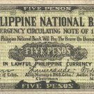 Philippines Cebu S219 WWII 1941 5P PNB 20K Print SCARCE Serial is 187335