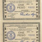 Philippine Mindanao 1944 WW2 S523 (b) 1P No Series Letter UNC 1 - 99,000 64,191 and 64,192