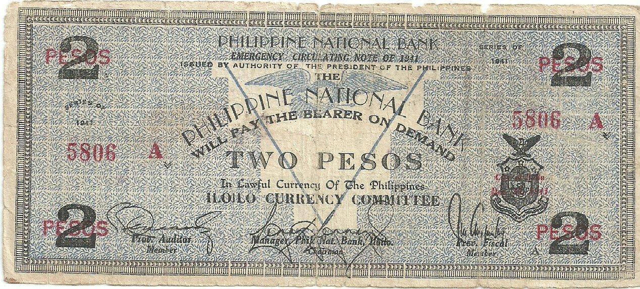 Philippine Iloilo 1941 2 Pesos Note S306 Rare Range 1 to 942,000Low Serial #5806