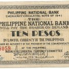Philippines Negro S627 (b) 10 Pesos 1941 WW2 Initialed 20,001 to 104,500 Serial is 78,059