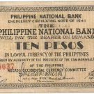 Philippines Negro S627 (b) 10 Pesos 1941 WW2 Initialed 20,001 to 104,500 Serial is 78,037