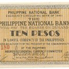 Philippines Negro S627 (b) 10 Pesos 1941 WW2 Initialed 20,001 to 104,500 Serial is 74,180
