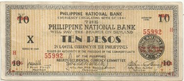 Philippines Negro S627 (b) 10 Pesos 1941 WW2 Initialed gn 20,001 to 104,500 Serial is 55,992
