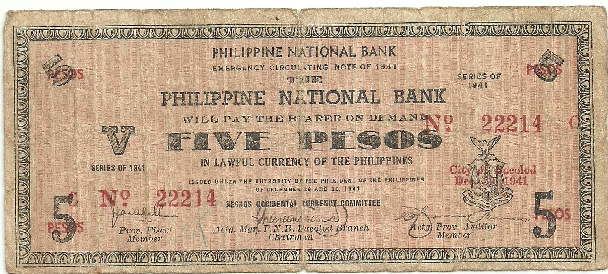 Philippines S617 1941 Negros Occidental 5 Pesos Note TYPE III RARE Scarce gn (#22,214) Plate C