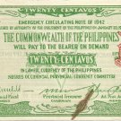 Philippines Negros S644 20 Centavos 1942 2nd Issue Large V Your serial 76,436