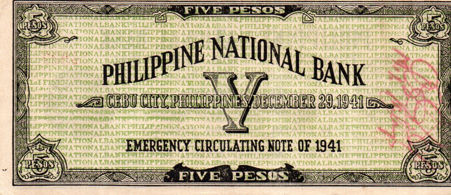 WWII 1941 Cebu Philippines S216 5 Pesos Emergency Currency Note  C/S PNB #24,927
