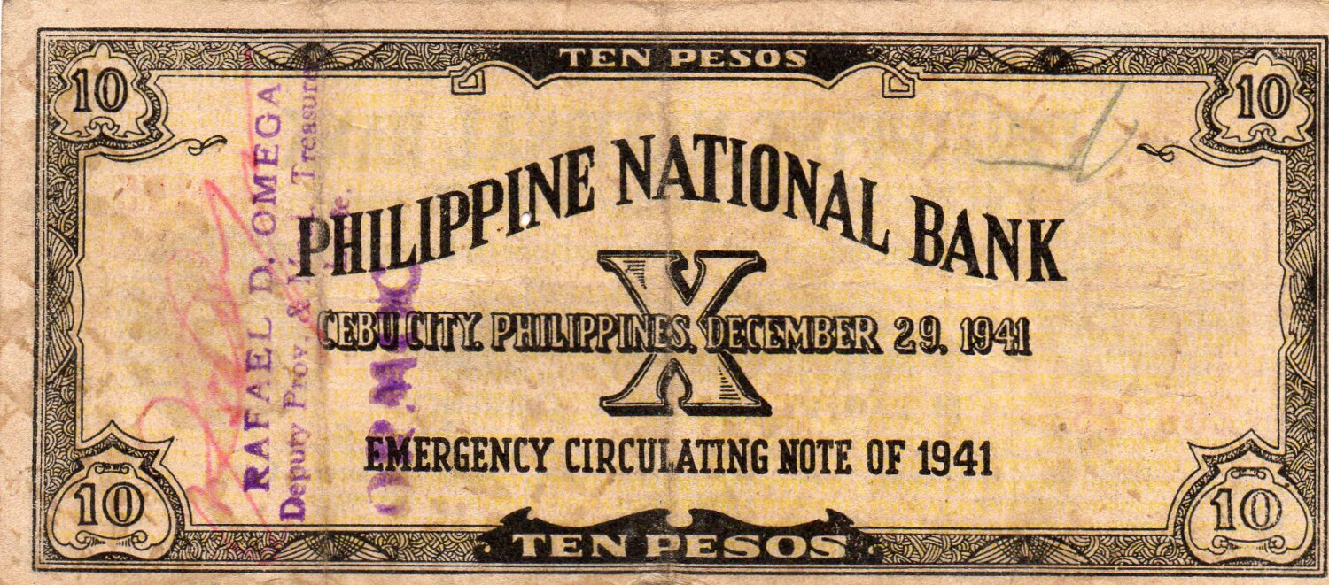 WWII 1941 Cebu Philippines S217 10 Pesos Emergency Currency Note C/S PNB 260,175