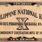 WWII 1941 Cebu Philippines S217 10 Pesos Emergency Currency Note C/S PNB 156,744