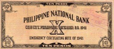 1941 Cebu Philippines S217 10 Pesos Emergency Currency Note C/S PNB #22,885