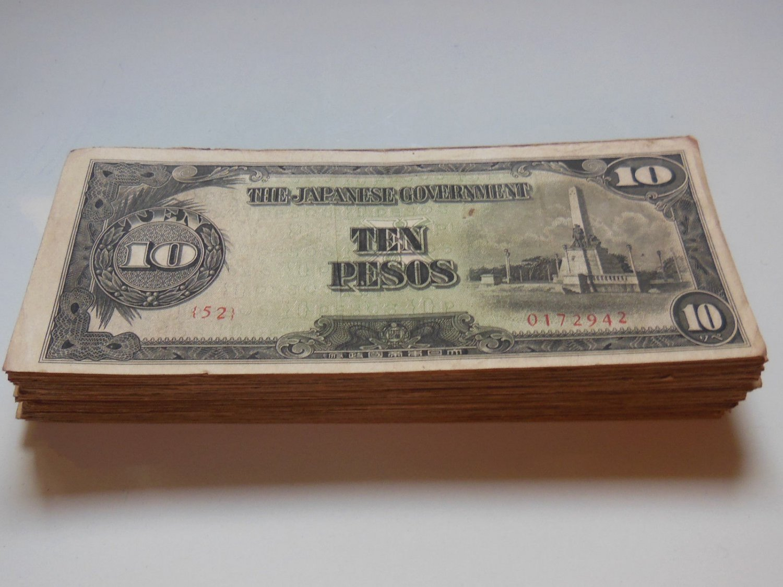 100 Bundle Japanese Invasion Money JIM 10 Pesos 1943 ND Issue P111 Circulated XF
