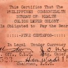 Philippines Culion Leper Colony 5c Centavos WW2 Emergency Currency Note S252