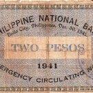 Philippine Iloilo Emergency 1941 2 Pesos Banknote Catubig, Northern Samar #2,771