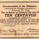 Philippines Negros Emergency S631 10 Centavos Couponized Check Issue 1/13/1942