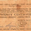 Philippines 1943 Mindanao 20 Centavos Emergency Banknote S483a WWII 1st Printing