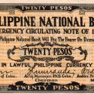 Philippines Emergency Cebu S218  20P GUERRILLA Banknote PNB AU/Uncirculated WW2