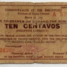 PHILIPPINES Negros Oriental Emergency Note 1942 10 Centavos S652 Coupon Check
