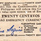 Philippines 1944 Mindanao 20 Centavos Emergency Banknote S521 WWII Only #15,000