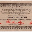 Philippines 1944 Mindanao 2 Pesos Emergency Banknote S524a No Series Letter AU