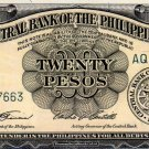 Philippines English Series CBP 1949 20 Pesos P137c Garcia-Castillo AQ277663