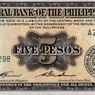 Philippines English Series CBP 1949 5 Pesos p135c Garcia-Cuaderno AZ001298 Low