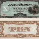 Philippines Japanese Invasion Money JIM ND P108 10 Pesos Notes Bundle of 10 UNC