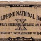 Philippines Emergency Cebu S217b 1941 10 Pesos 2C/S NAVAL, LEYTE MAYOR Pen Sig.