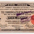Philippines Negros 5 Pesos Emergency Banknote S648a  C/S March 24,1944 RARE