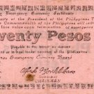 PHILIPPINES Negros Emergency Note 1944 20 Pesos S679 PINK Paper WW2 Circulated