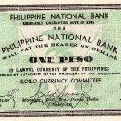 PHILIPPINES Iloilo 1941 1 Peso S305 Pre Surrender Issue  WW2 AU-Uncirculated XF