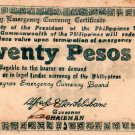 PHILIPPINES Negros Emergency Note 1945 20 Pesos S685 White Paper WW2 UNC