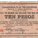 Philippines Negros Emergency S639 10P Couponized Check Issue 1/13/1942 Low Print