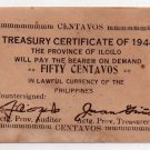 Philippines 1944 Iloilo S335 50 Centavos Emergency Circulating Note WW2 Post Sur